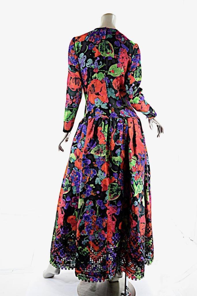 OSCAR de la RENTA Vintage Vintage Vintage Red Green Floral Silk Taffeta Gown w Cutout Hem  6000 b9b5b5