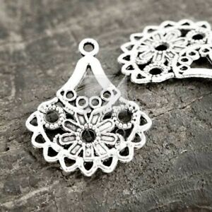 50pcs Tibetan Silver Charm Pendant Connector Links Jewelry Finding Teardrop 38mm