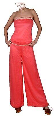 Donna Chiffon Sera Overall Jumpsuit Pantaloni Vestito Larghezza Pantaloni 34 36 38 S M Strass-mostra Il Titolo Originale Garanzia Al 100%