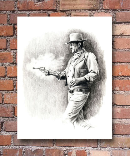 "John Wayne Pencil Portrait /""Comancheros/"" Art Print Signed by Artist DJR"