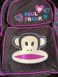 Paul-Frank-Julius-Monkey-Backpack-Brown-Pink-Teal-Plaid-Knapsack-Book-Bag