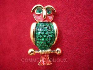 Broche-034-Hibou-034-N-1-doree-Owl-Duc-Oiseau-de-Nuit-Foret-Bijoux-Vintage-Sphinx