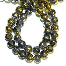 "G1522L Black Diamond 8mm Round Metallic Drawbench Swirl Crackle Glass Beads 32"""