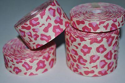 "Grosgrain ribbon - 20 yards -1.5"", 7/8"",5/8"" & 3/8"" LEOPARD cream  print"
