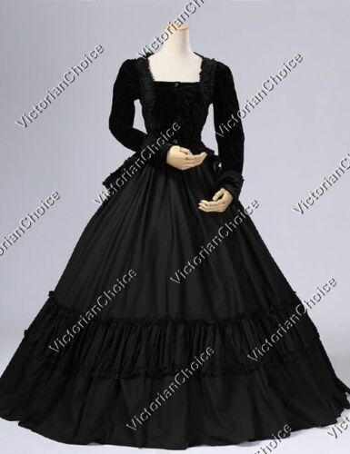 Victorian Costumes: Dresses, Saloon Girls, Southern Belle, Witch    Black Victorian Civil War 2PC Velvet Gown Dress Theater Steampunk Costumes 134 $145.00 AT vintagedancer.com