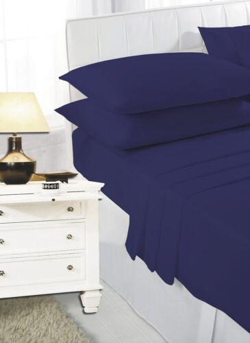 Single Navy Plain Dyed Fitted Sheets Polycotton Bed Single Fitted Sheet Navy