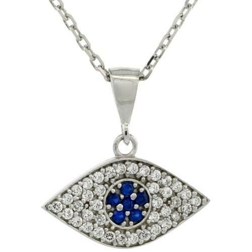 925 Sterling Silver Cable Link Chain Necklace w//Jeweled 20mm Evil Eye Pendant