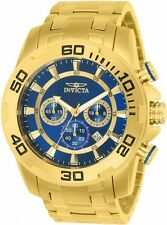 Invicta Men's 50mm Pro Diver Scuba Chronograph 18kt Gold Plated Blue Dial Watch