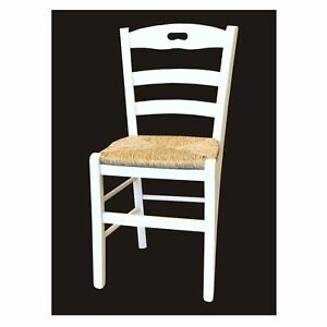 Sedie In Legno Laccate Bianco.Sedia Lory Paglia Laccata Bianco Casa Ristorante Pizzeria Pub