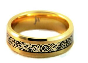 Tungsten-Carbide-Gold-Men-039-s-Wedding-Band-Tungsten-Ring-Celtic-Dragon-Inlay