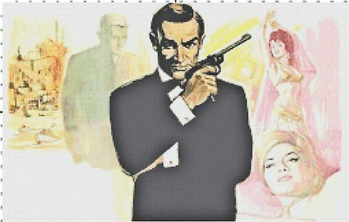 From Russia w// Love James Bond DIGITAL Counted Cross-Stitch Pattern Needlepoint