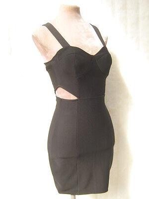 Sexy Black zip Bondage Panel Structure Cut Out Bodycon wiggle Dress  XS M Diva