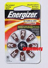 Energizer 312 PR41 AZ312 Zinc Air Hearing Aid Batteries 1.4V 8pcs in pack
