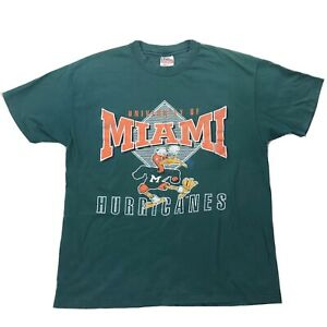 Vtg University of Miami Hurricanes Shirt Sz XL Green Canes Short Sleeve Tee