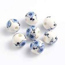 Porcelain Round Beads 12mm White//Turquoise 10 Pcs Art Hobby DIY Jewellery Making