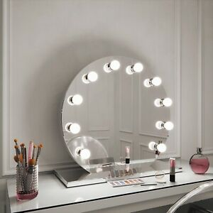 Hollywood Mirrors Halle Round Free Standing Vanity Mirror Illuminated Mirror Ebay