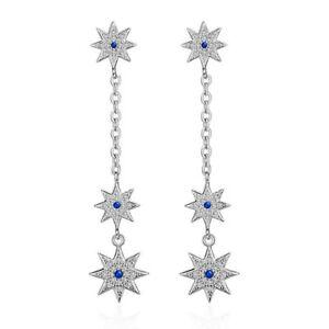 Women-039-s-925-Sterling-Silver-Cushion-Natural-Zircon-Star-Stud-Dangle-Earrings