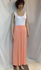 Rags-amp-Couture-Women-039-s-Peach-And-White-Maxi-Dress-Size-M