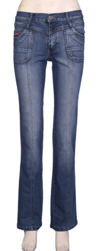 Womens Straight Leg Stretch Jeans Ladies Cotton Denim Regular Fit Pants Trouser