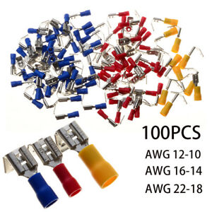 100x 22 10gauge insulated piggyback spade wire connector electrical