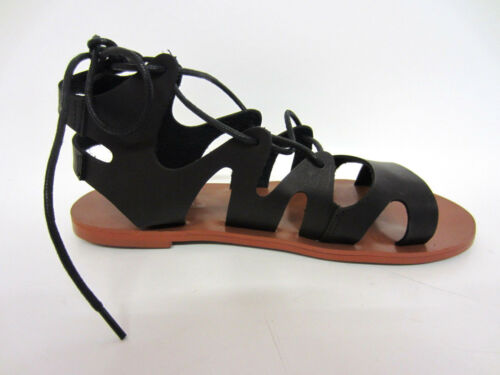 Ladies Black Gladiator Laced F0r963 Front On Sandals 11a Spot p5qSfn
