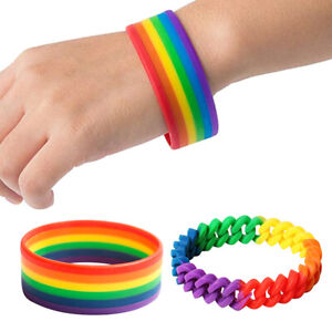 Details About Pride Mardi Gras Rainbow Silicone Rubber Bracelet Wristband Women Gift