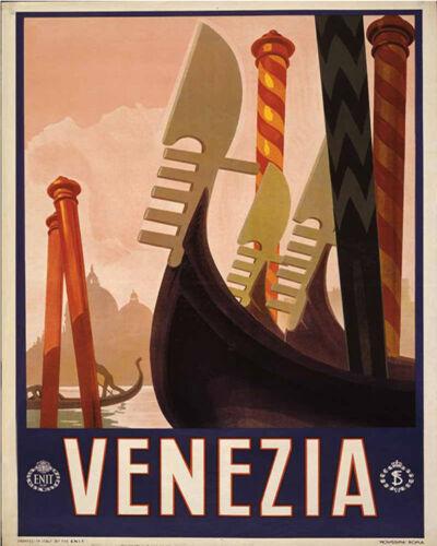 Venezia Travel VINTAGE ENAMEL METAL TIN SIGN WALL PLAQUE