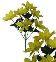 Lot Of 144 Yellow Poinsettia 14bush Christmas Decor Artificial Silk Flower Home