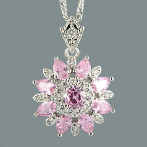 Round-Pink-Sapphire-18K-White-Gold-Plated-Flower-Pendant-Necklace-Curb-Chain