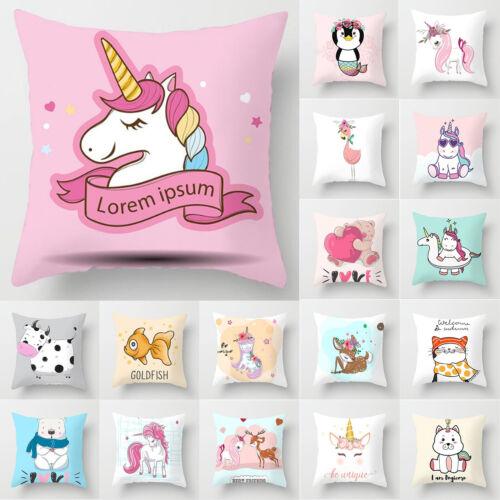Cartoon Animals Polyester Print Cushion Cover Pillow Case Home Sofa Throw Decor