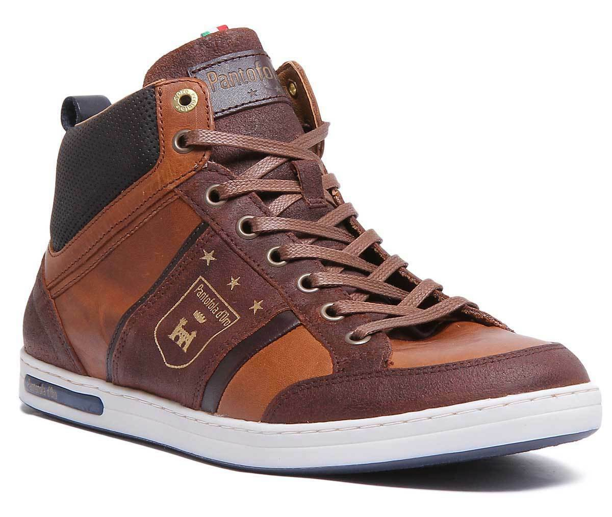 Pantofola D'Gold Mondovi Mens Casual Mid Top Trainers In Tan Größes UK 6 - 12