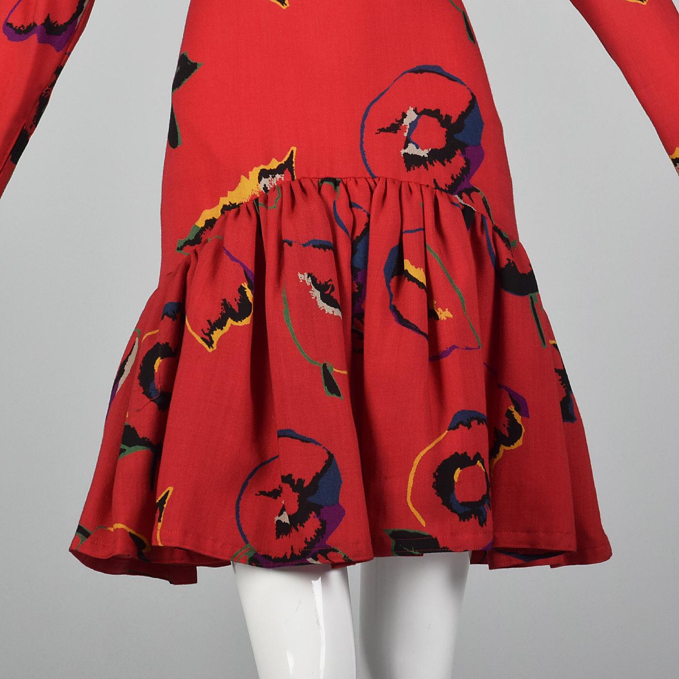 S 1980s Pauline Trigere Long Sleeve Red Dress Dro… - image 5