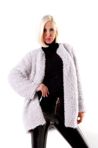 12 Lined Teddybear 10 Italian Soft Shaggy 14 Warm Zwart Grijs Fluffy Jackets FHFv7wqB