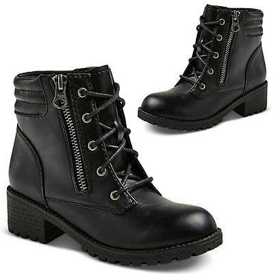 GIRLS SCHOOL BOOTS MILITARY COMBAT BIKER RIDING FORMAL WINTER BLACK SHOES SIZE
