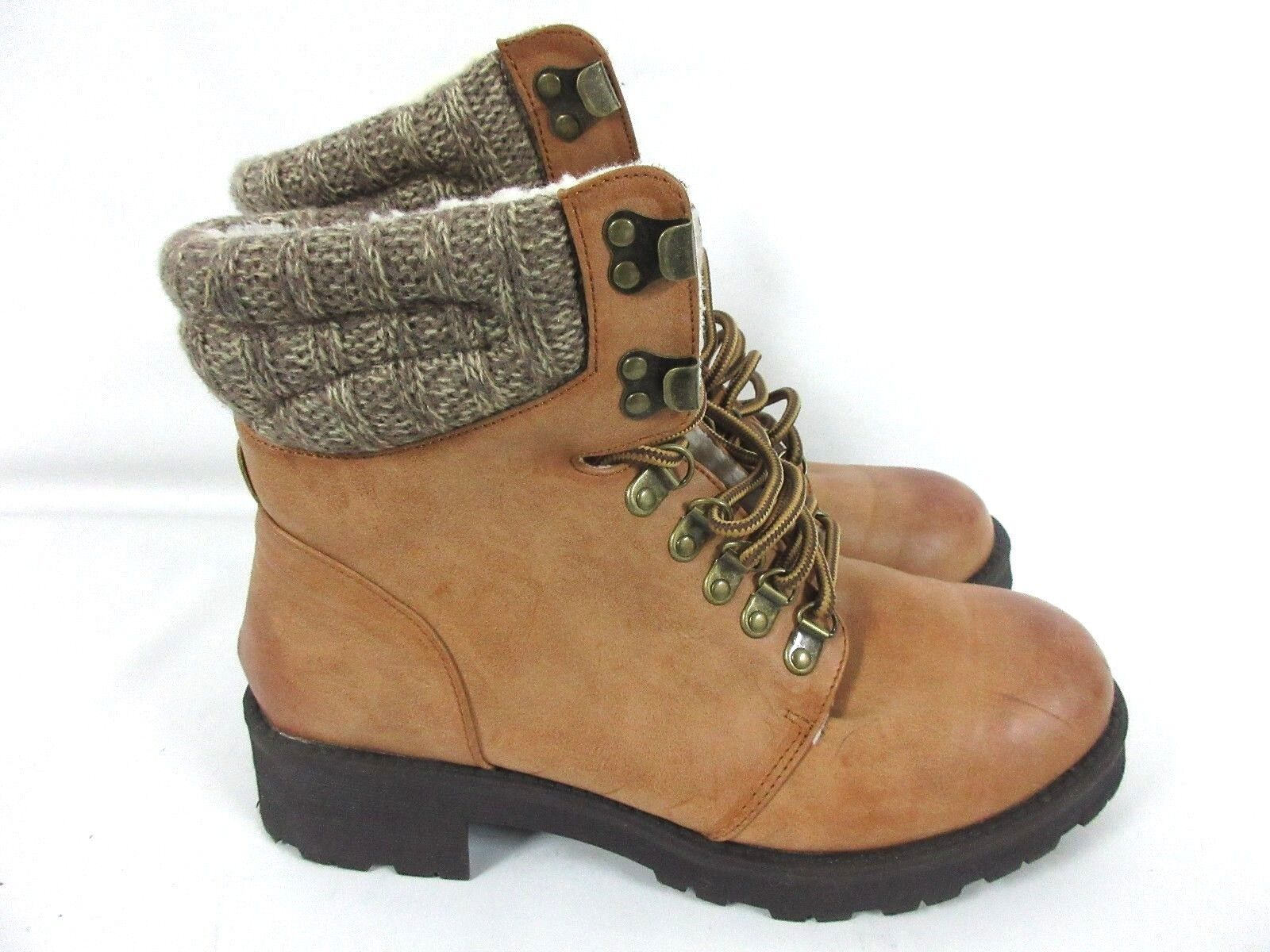 Mia Maylynn Women's Camel Boots Knit Cuff Detail Lace Up Boots Size 8.5M