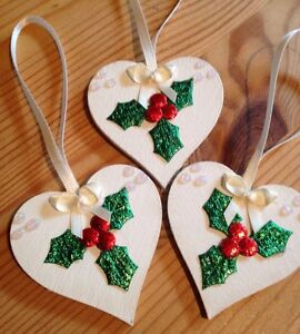 image is loading 3 x handmade shabby chic christmas decorations wood - Handmade Shabby Chic Christmas Decorations