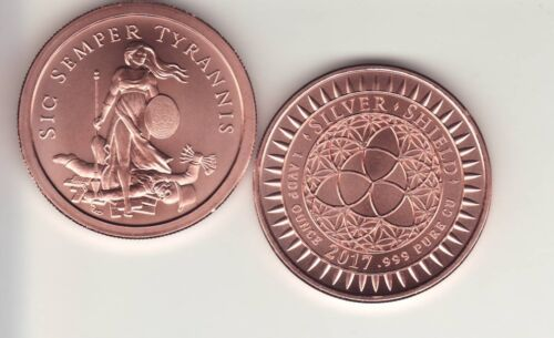 Copper Round Coin  from Silver Shield  2017 SIC SEMPER TYRANNIS  1 oz