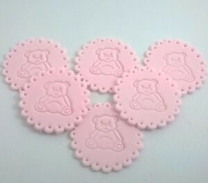 6-PINK-BABY-GIRL-BEAR-Edible-Cake-Cupcake-Decorations-Toppers-Shower-Christenin