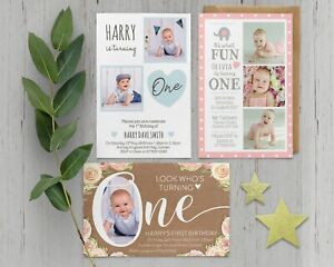 Details About Personalised 1st Birthday Invitations 2nd 3rd 4th 5th Boy Girl Photo