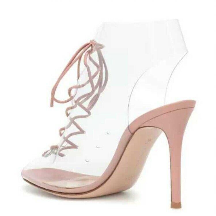 donna Elegant Elegant Elegant Occident 2019 Spring Summer Sandal scarpe Clear Lace Up High Top d7dd75