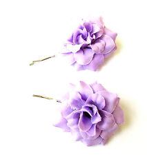 2 x Light Purple Rose Flower Hair Grips Clips Bridesmaid Bobby Pins Slides 2101
