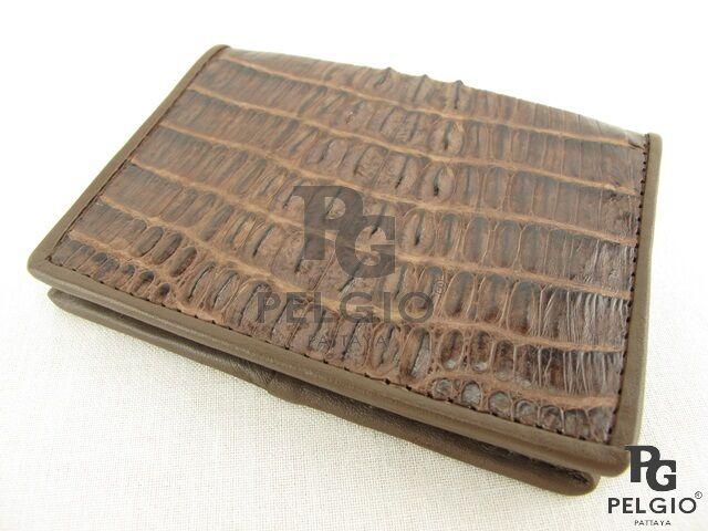 PELGIO Genuine Crocodile Skin Leather Business Credit Card Holder Wallet Brown