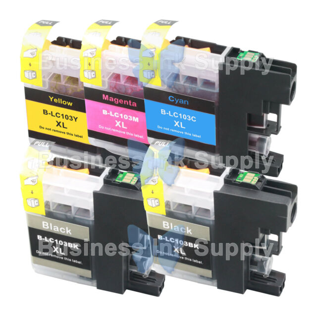 5 PACK LC103 *VERSION 3 CHIP* High Yield Ink Cartridge for BROTHER MFC-J875DW