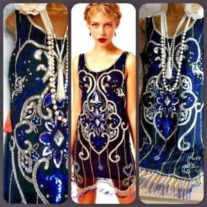 Flapper 1920 18 Frock Années Taille Perlé Dress Bleu Argent Frill Style Noir 5wf5q6X7S