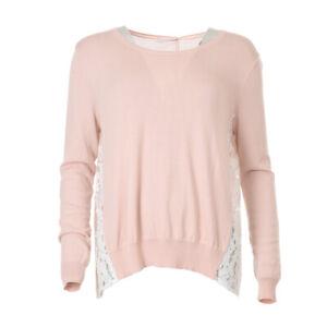 iBLUES-MAX-MARA-Sweater-Pink-Lace-Panel-RRP-159-BG