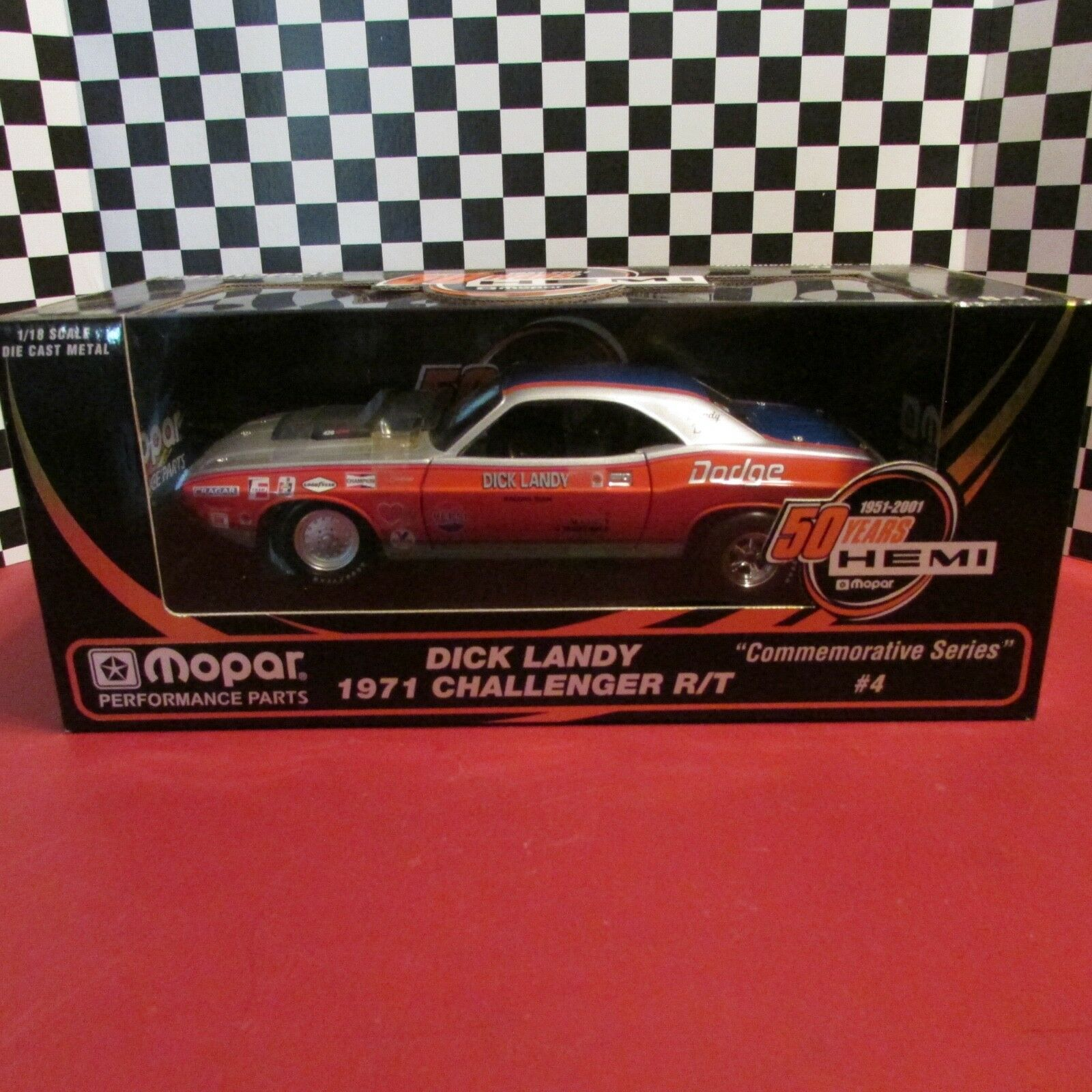 Ertl, 1971 dodge'hemi Challenger RT, Dick Landy carreras, Auto diecast escala 1:18