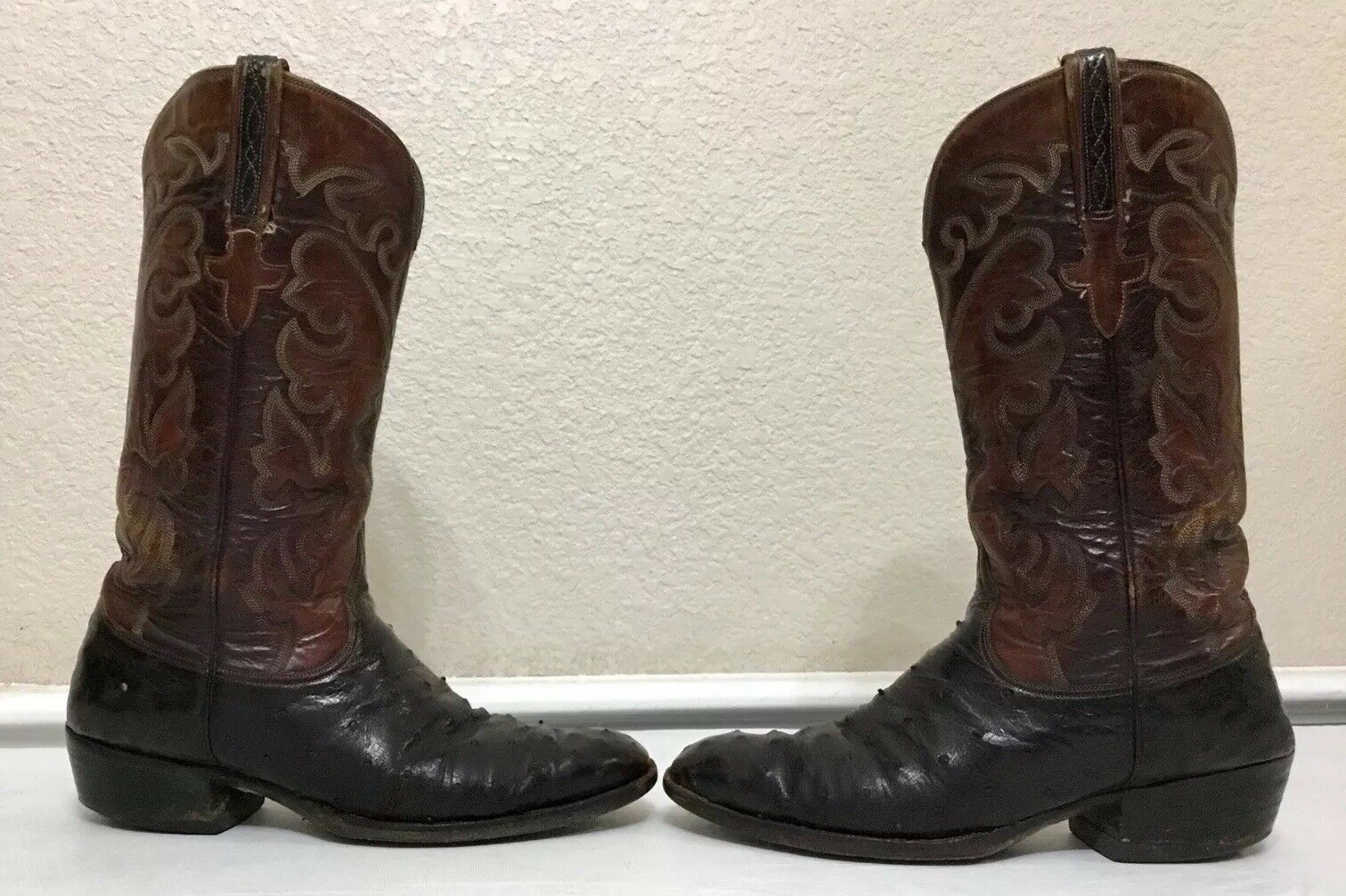 Vintage Lucchese San Antonio Ostrich Full Quill Leather Boots Size 10 C Mens