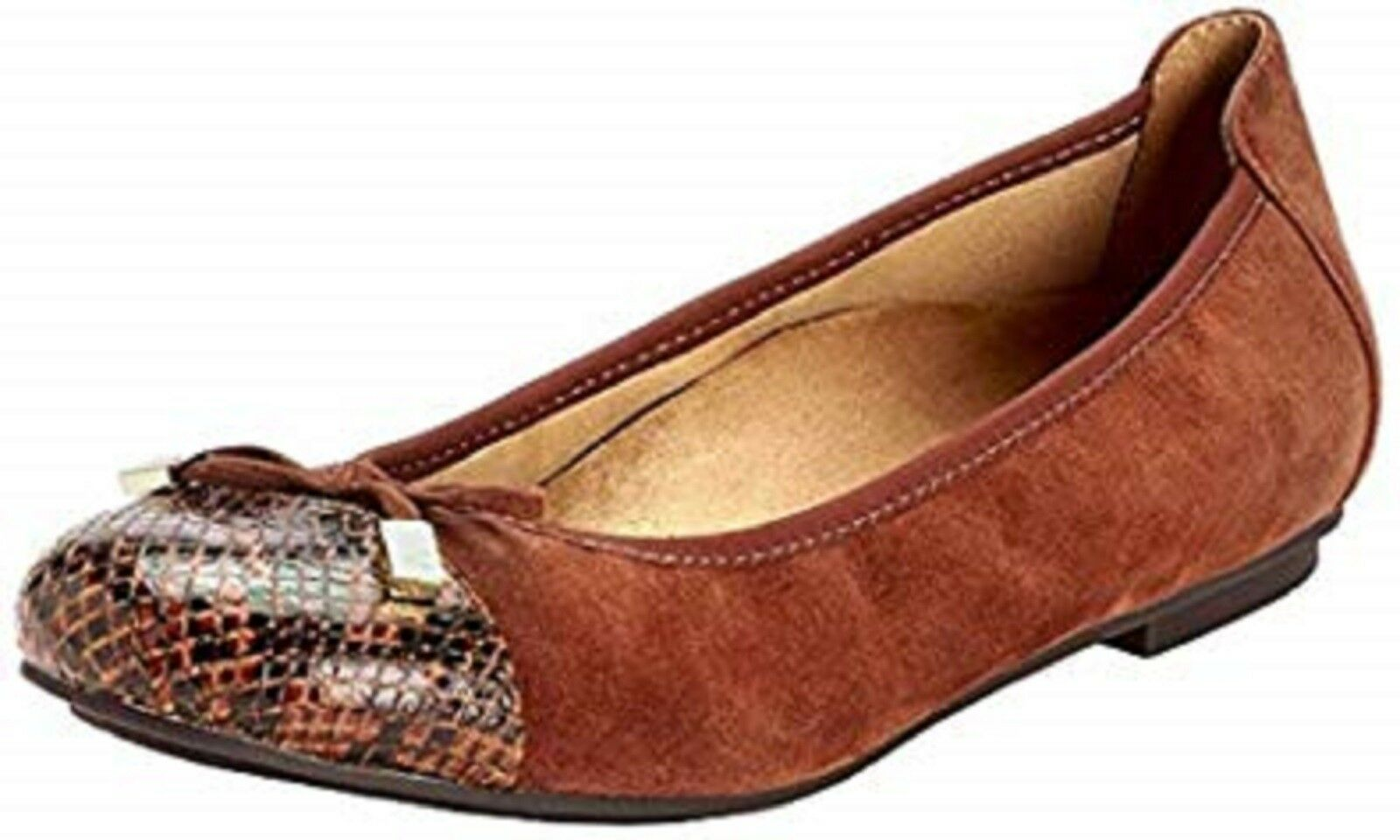 Vionic-Spark Minna-Gamuza Serpiente Serpiente Serpiente Diseño Ballet Zapatos sin Taco Sin Marrón Talla 7.5 Ancho Nuevo en Caja  respuestas rápidas