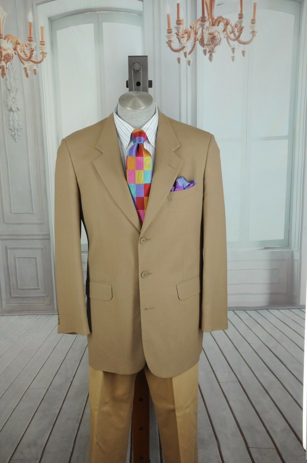 45855280d Corbin Men's Textured Tan Wool Blazer Sport Coat 44L 44 L nbdorj5212 ...