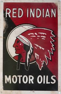 RED-INDIAN-MOTOR-OIL-All-Weather-Metal-Sign-With-An-Aged-Look-450mmx300mm